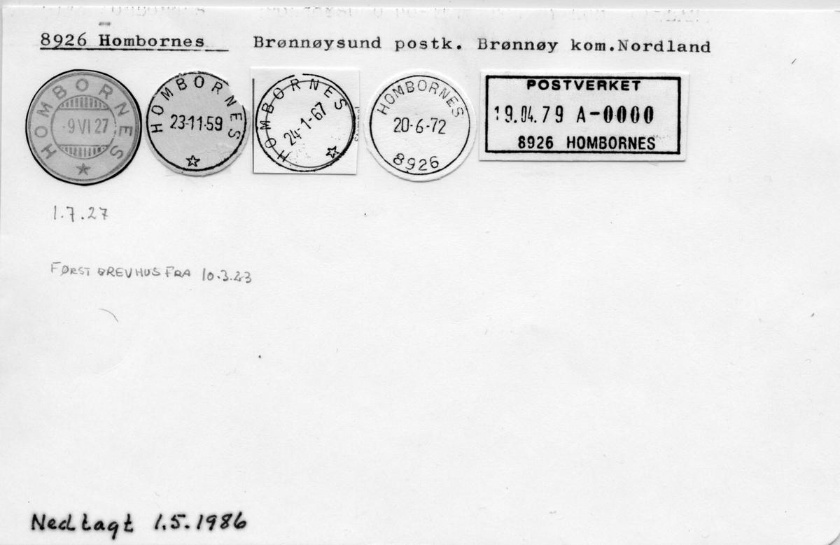 Stempelkatalog 8926 Hombornes, Brønnøysund, Brønnøy, Nordland