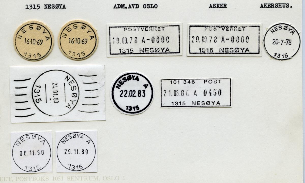 Stempelkatalog  1315 Nesøya, Oslo, Asker, Akershus