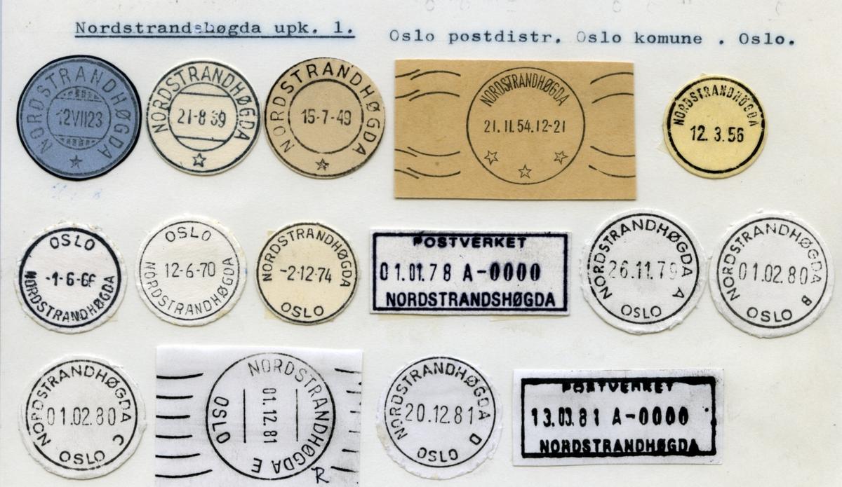 Stempelkatalog. Nordstrandhøgda upk. 1. Oslo postdistrikt. Oslo kommune. Oslo fylke.