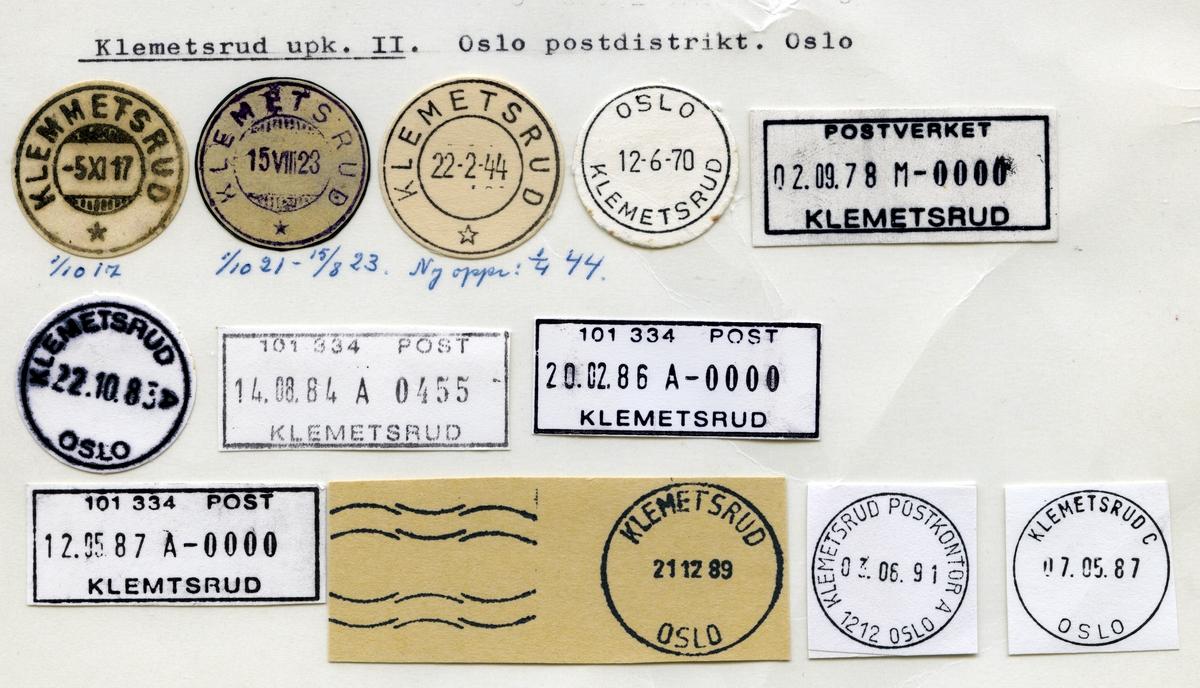 Stempelkatalog Klemetsrud, Oslo postdistrikt, Oslo