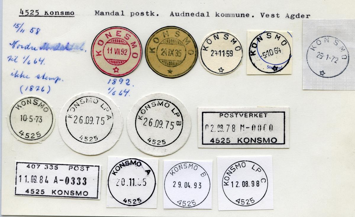 Stempelkatalog 4525 Konsmo, Mandal, Audnedal kommune, Vest Agder (Konesmo)