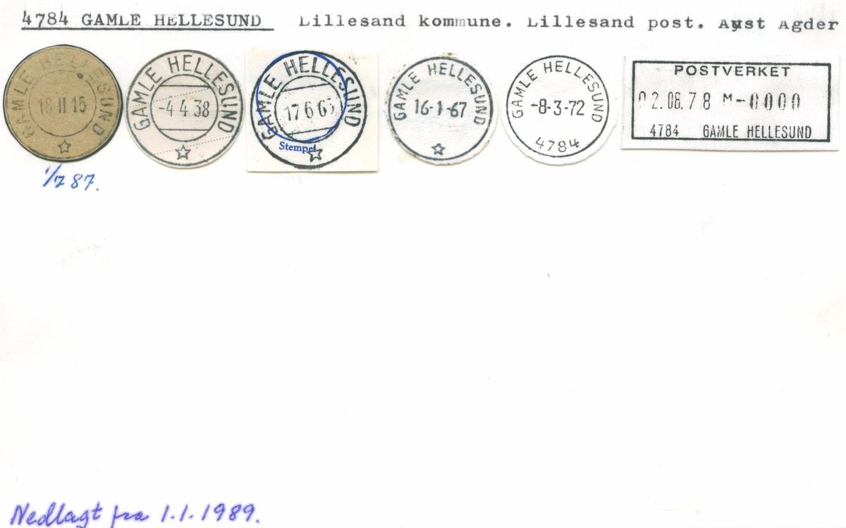 Stempelkatalog 4784 Gamle Hellesund, Lillesand, Aust-Agder