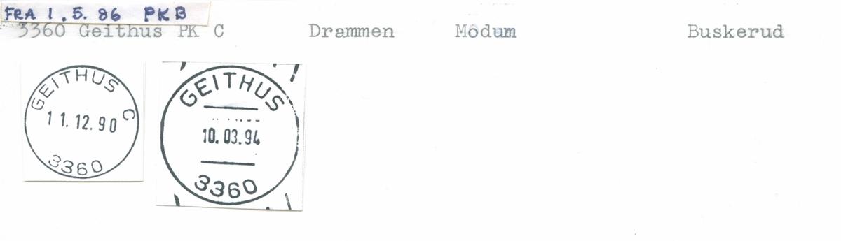 Stempelkatalog 3360 Geithus (Gjethus, Gjeithus), Drammen, Buskerud