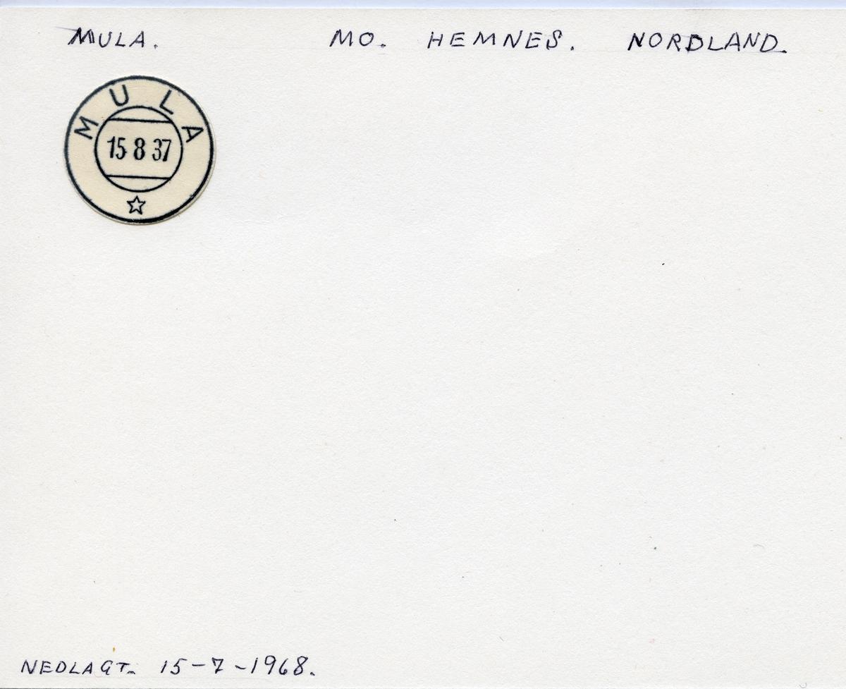 Stempelkatalog  Mula, Hemnes kommune, Nordland