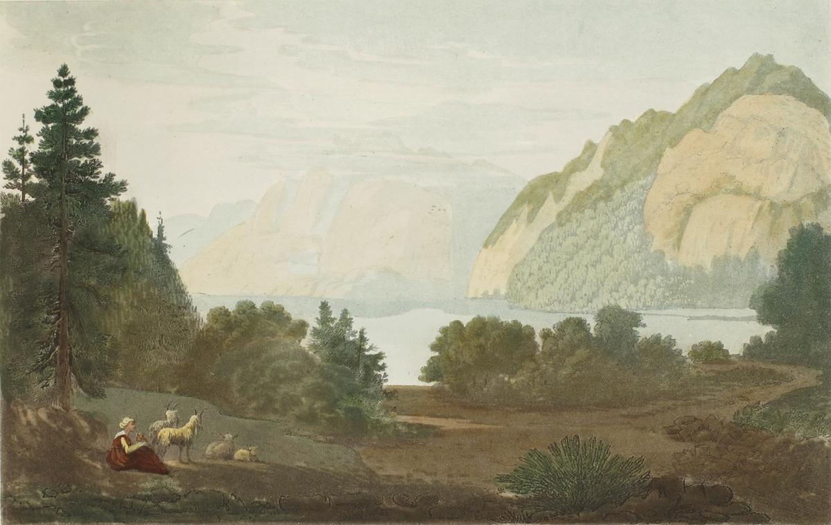 Innsjøen Sinli. I forgrunnen grønn skogslette m. gjeterpike, får og gjeter i v. hjørne i bakgr. stille vann omgitt av bratte berg.