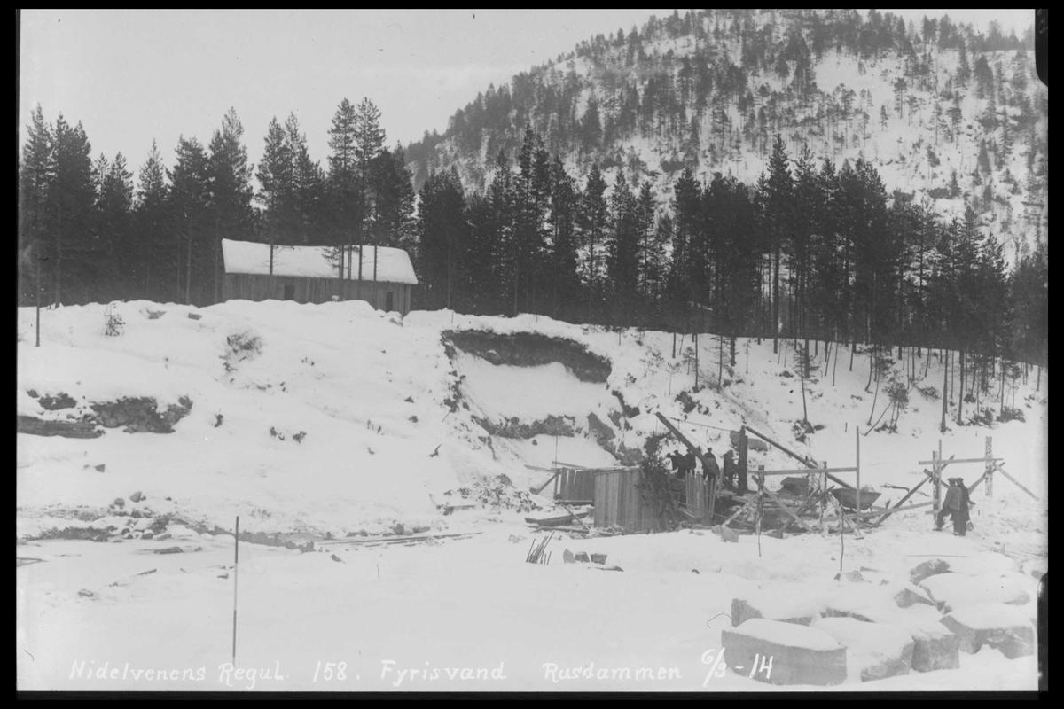 Arendal Fossekompani i begynnelsen av 1900-tallet CD merket 0474, Bilde: 35 Sted: Fyrisvann Beskrivelse: Rudsdammen