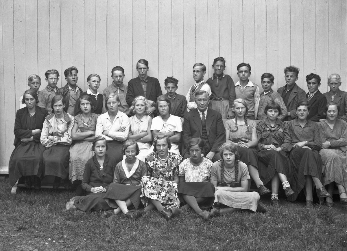 Konfirmanter Langset 1933.  1-Helga, 2-Torunn Olsen, 3-Elsa Hansen, 4-Johanne Nygård, 5-Gunhild Gundersen, 6-Sylvia Bach, 7-Eldbjørg Brustad, 8-Ebba Hansen, 9-presten Bovim, 10-Ruth Aulie, 11-Thorbjørg Ljødal, 12-Margit Eidsgaard, 13-Gustav Rønsen, 14-«Trøndern», 15-Ottar Sannerhaugen, 16-Gulbrandsen, 17-Hansen, 18-Tidem, 19-John Myhrer, 20-Knutsen, 21-Oskar Pedersen, 22-Per Lien.