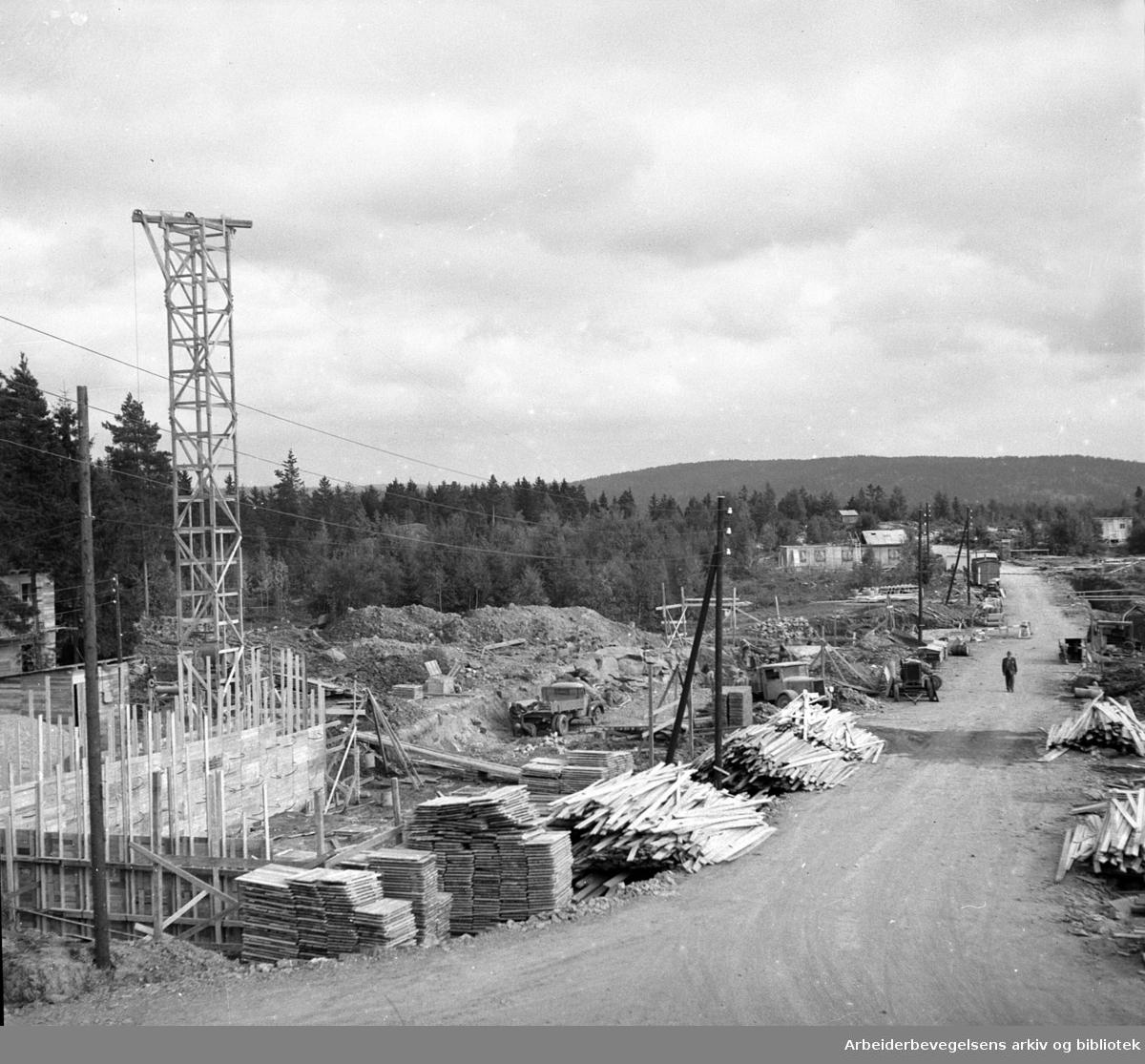 Boligblokker under bygging på Lambertseter, .september 1951