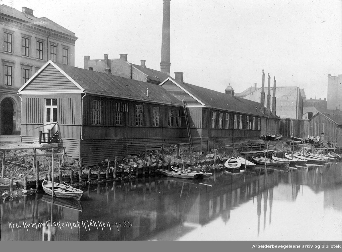 Kristiania kommunale provianteringsråds fiskematkjøkken i Elvegata, ved Akerselva,.1916-20