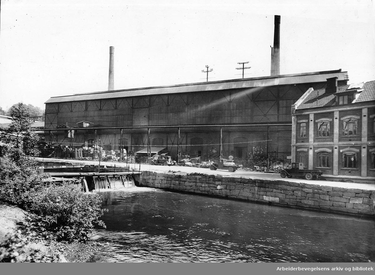 Stålverket i Nydalen ved Akerselva,.1938
