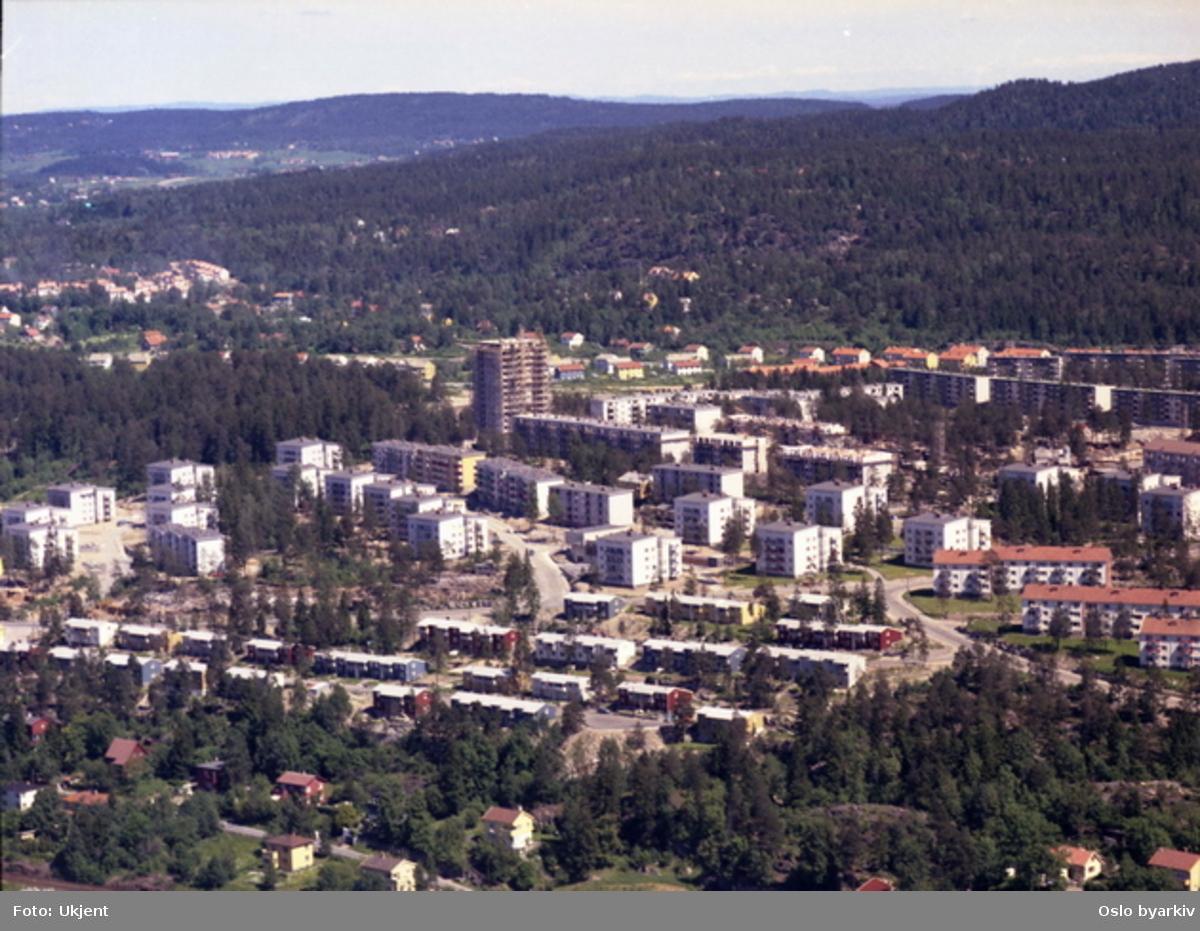 Villabebyggelse i Damfaret foran til venstre. Rekkehus i Sveiserveien og Klinkerveien. Boligblokker i Mekanikerveien, Kranveien og Filerveien lenger bak.  (Flyfoto)