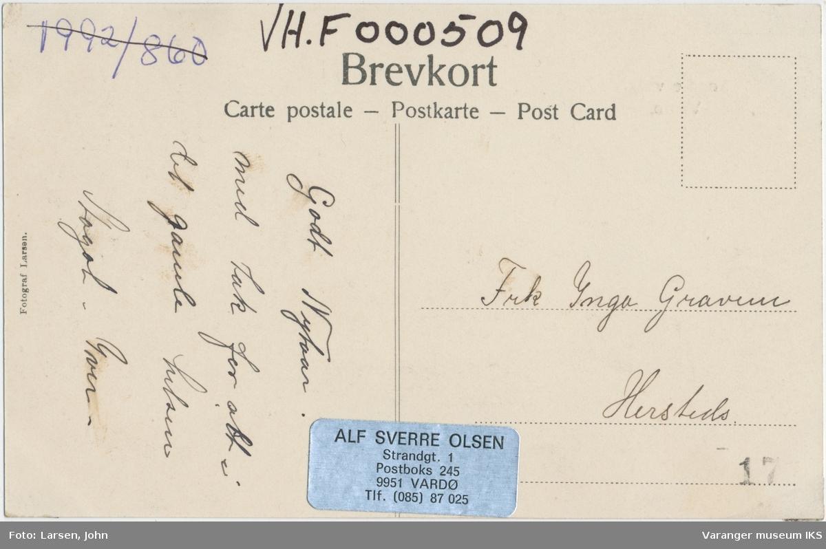 Postkort, Valen og Østervågen, sett fra Steilneset, ca. 1910