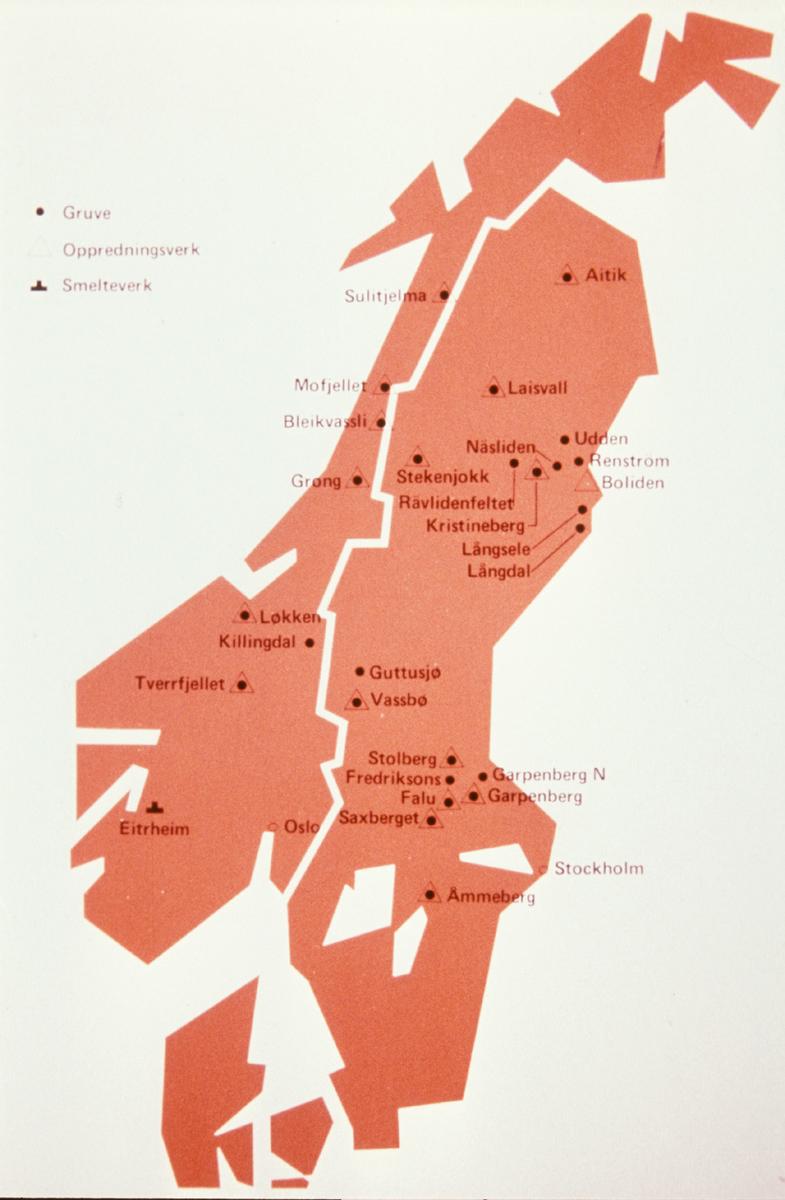 kart norge og sverige Kart, Norge og Sverige, gruver og smelteverk   Norsk Vasskraft  og  kart norge og sverige