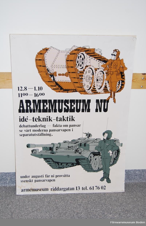 Affisch av hårdpapp, tryckt 1972.