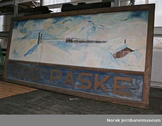 Maleri med blindramme i to deler : illustrasjon av påsketrafikken