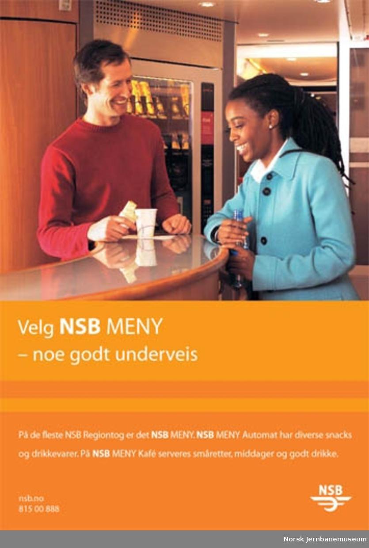 Reklameplakat : Velg NSB Meny - noe godt underveis