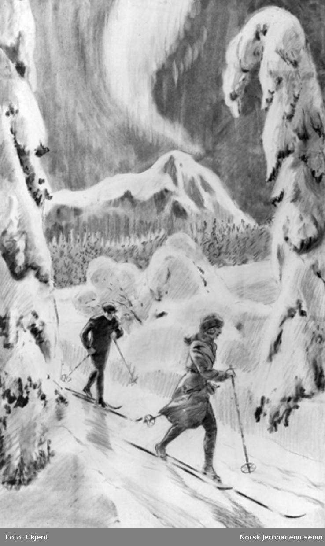 Tegning av to skiløpere