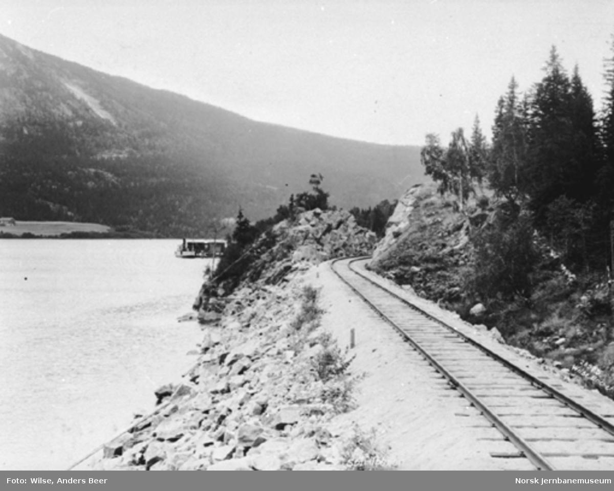 Sperillbanens linjeføring før innkjøringen til Sperillen stasjon med Sperillen brygge såvidt synlig