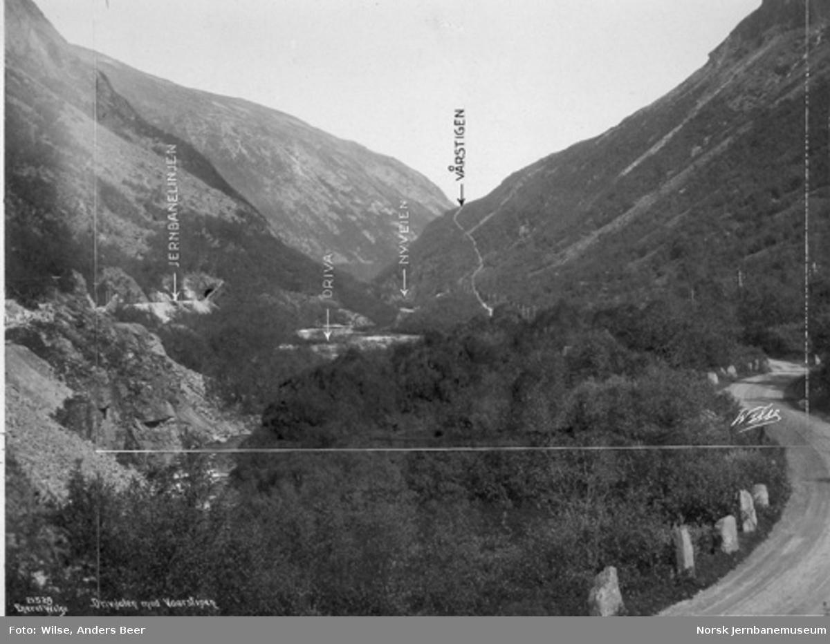 Dovrebanens trasé i Drivdalen ved Kongsvoll