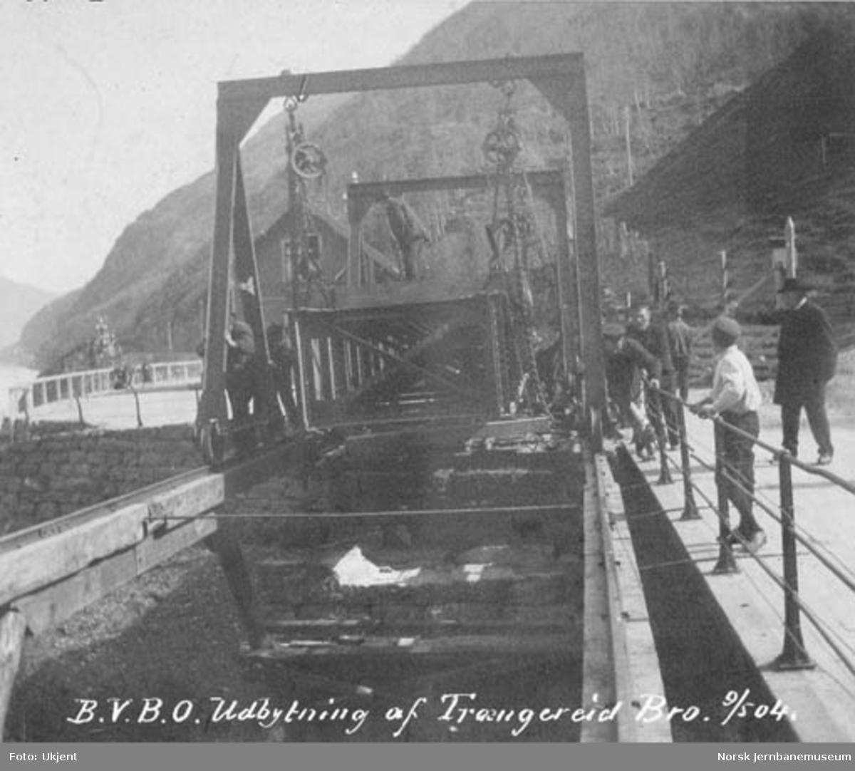 Utbytting av Trengereid bru : ny jernoverbygning heises opp i galgene og skyves på plass