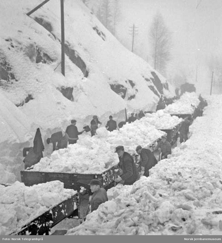 Snørydding på Nelaug og Treungenbanen : rydding av Treungenbanen