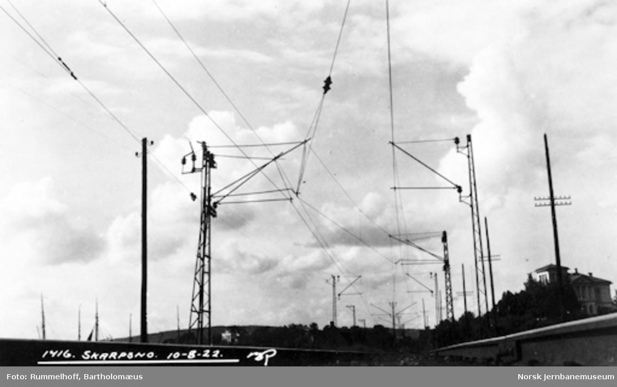Drammenbanens elektrifisering : kontaktledningsanlegget ved Skarpsno