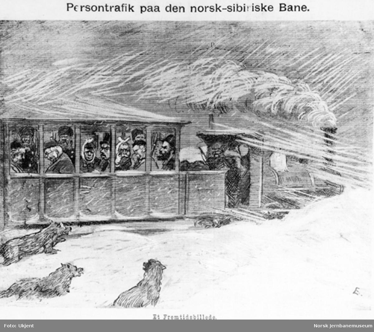 Humoristisk tegning : Persontrafikk paa den norsk-sibiriske Bane