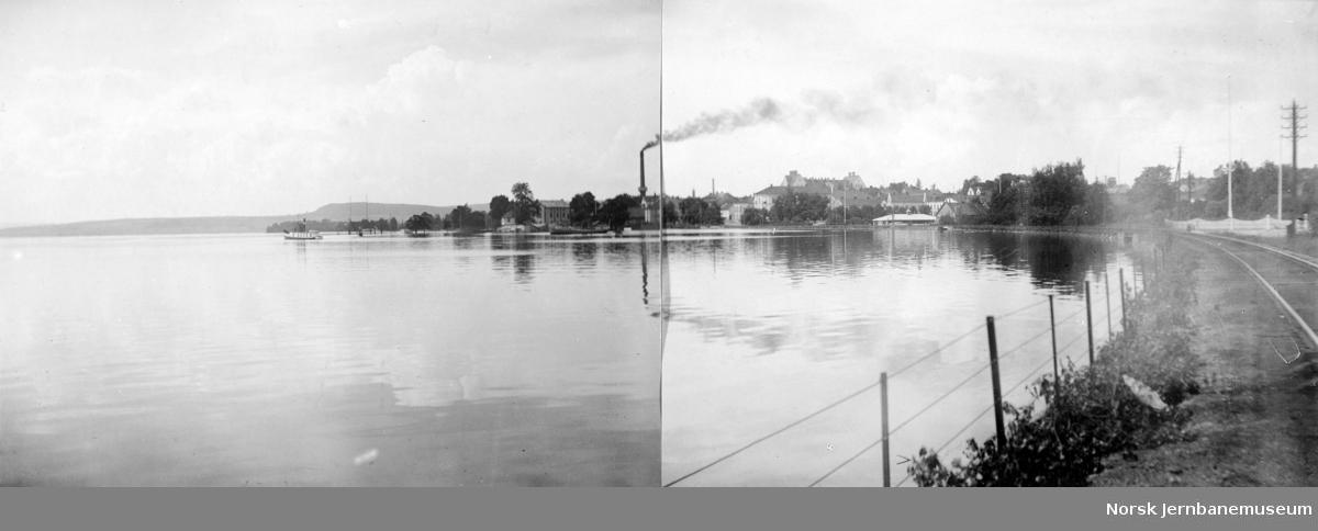 Flommen i 1927 : partiet utenfor jernbanen med Strandveien og dampskipsbryggen under vann