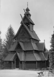 Stavkirken fra Gol i Hallingdal. Fotografert på Norsk folkem