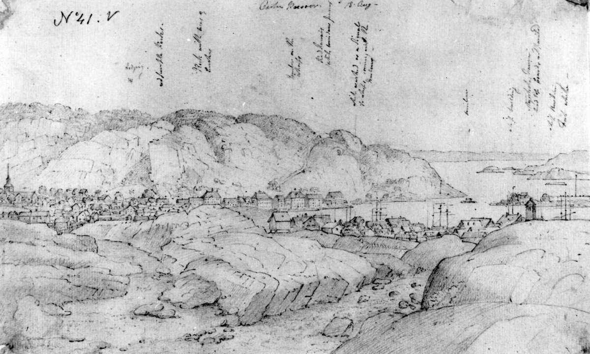 "RisørFra skissealbum av John W. Edy, ""Drawings Norway 1800""."