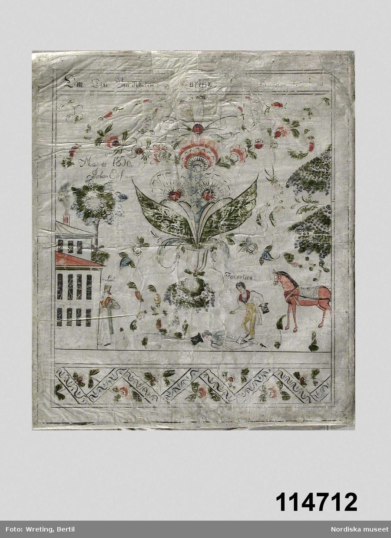 """Huvudliggaren: """"Bonad, målad på papper, framställer den barmhärtige samariten, målad 1830 av Johan Ersson. [Brukningsort:] Dalarna (sannolikt). [Givare:] Onämnd."""""""""""