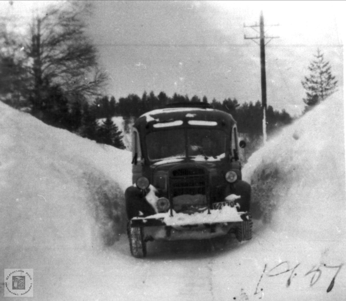 Snøvinteren 1951 på Kolandsheia, Bjelland.