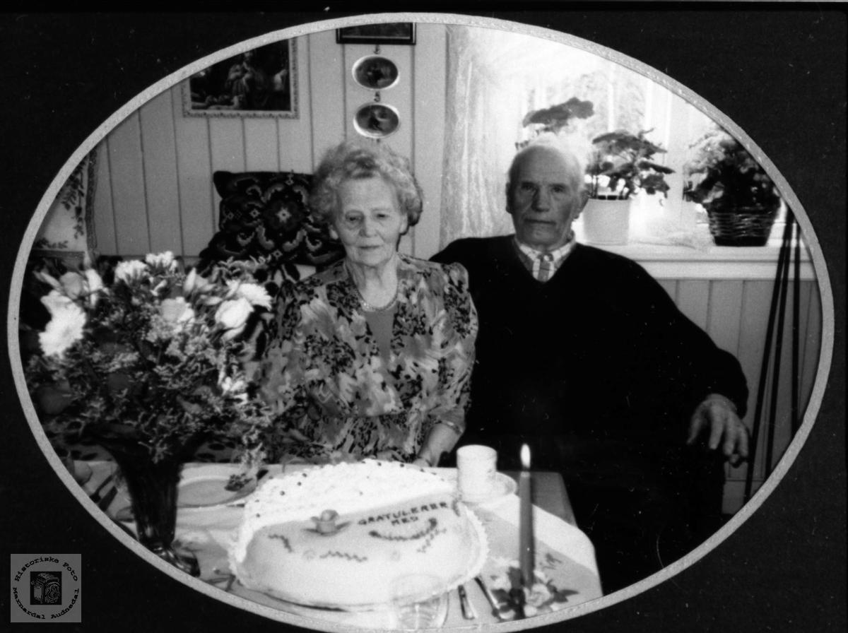 Portrett av ektepar. Petra og Ingolv Tisland, Laudal.