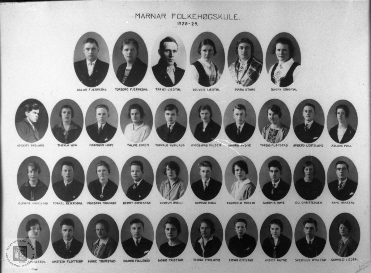 Marnar Folkehøgskole 1928-1929