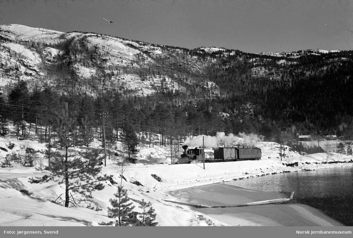 Godstog med damplokomotiv ved innkjøringen til Byglandsfjord stasjon