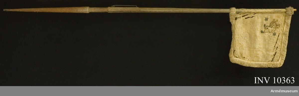 Grupp B I. Livstandar för  Västgöta tre- och femmänningekavalleri. Duk av vit sidendamast, med målade emblem, omvänt lika på båda sidor: i övre inre hörnet Västergötlands sköldemärke: ett upprätt lejon, övre halvan i guld, nedre i svart, följt av två sexuddiga gyllene stjärnor. Runt kanten en frans , 6 cm bred, av vitt silke. Fäst vid stången med tre vita sidenband och tre rader förgyllda tännikor. Stång av furu, vitmålad, sexrefflad och förstärkt med tre järnskenor, löpande bärring på karbinstång av järn. Längd: till greppet 0,89 m, greppet 0,19 m, till duken 1,31 m och total 2,98 m. Diameter: upptill 2,6 cm, nedom duken 3,9 cm, ovan greppet 6,6 cm och i greppet 5,1 cm. Doppsko av järn. Spets av förgylld mässing. Holken 6 cm hög.  LITT  Cederström nr 64. Standaret bör ha förts av Västgöta tre-  och femmänningar under översten Gustav Fredrik Lewenhaupt. Det  har varit regementets livstandar. Förfärdigat efter Karl XII:s  förordning av 17000802.
