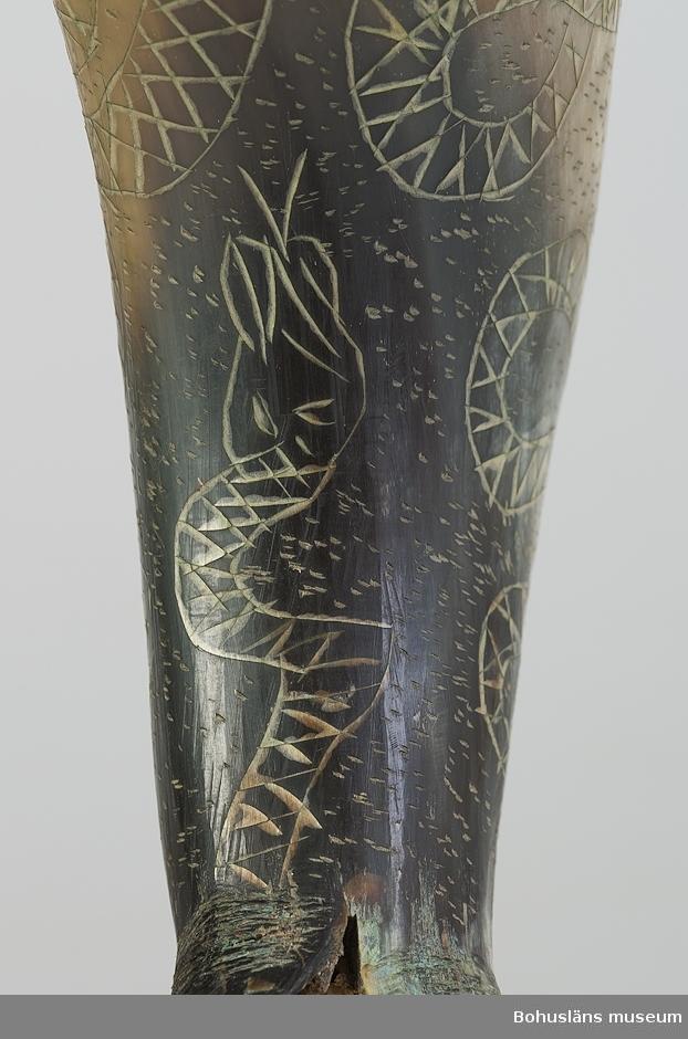 """Dryckeshorn tillverkat av ett oxhorn. Spetsen är kluven nertill i fyra """"ben"""". """"Benet"""" är utformat som en orm. Ett ben saknas och är ersatt med en spik. Runt mynningen är """"H H 1615"""" (troligt årtal) samt en krona skuren i relief. Övrig dekor består av ristade ormar.  Greta Larsson bodde på gården Huveröd N, Ucklums socken fram till 1984, då hon flyttade till Tallåsens ålderdomshem. Släkten Larsson hade ägt gården i flera generationer och hornet hade funnits där lika länge."""
