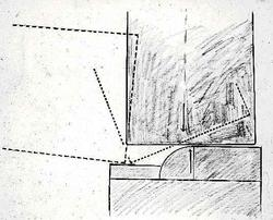 Skisse som viser prinsippet for å heise monolittsteinen i st