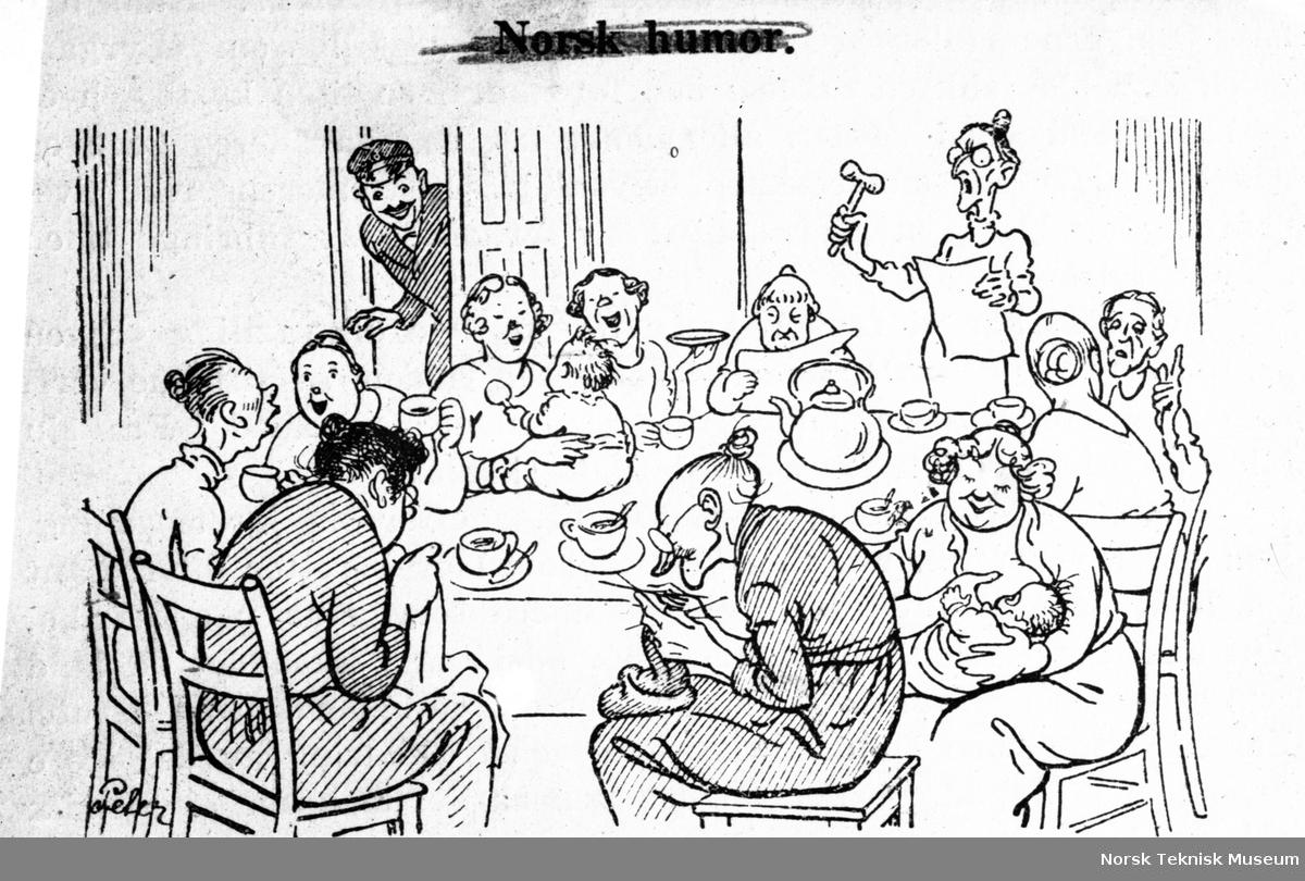 Vitsetegning av kvinnesaksmøte, tegnet av Peter.