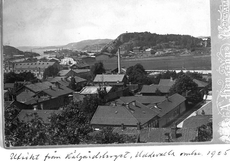 """Text på kortet: """"Vy över Hamnen, hamnbanestationen och Skansberget från Kålgårdsberget. I vinkelhuset med tre skorstenar i förgrunden föddes ärkebiskop Sundberg""""."""