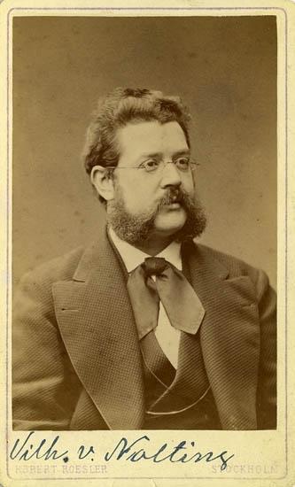 """Text på kortets baksida: """"Wilh. von Nolting, född 1840""""."""