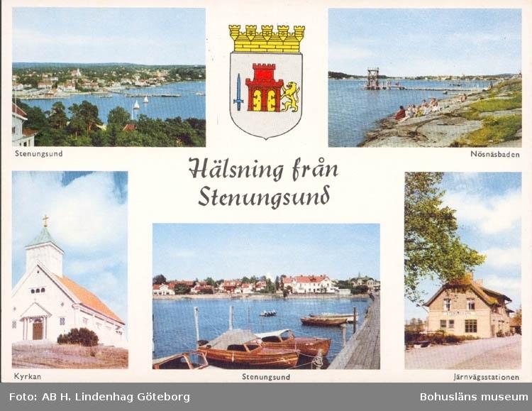 """Tryckt text på kortet: """"Hälsning från Stenungsund."""""""