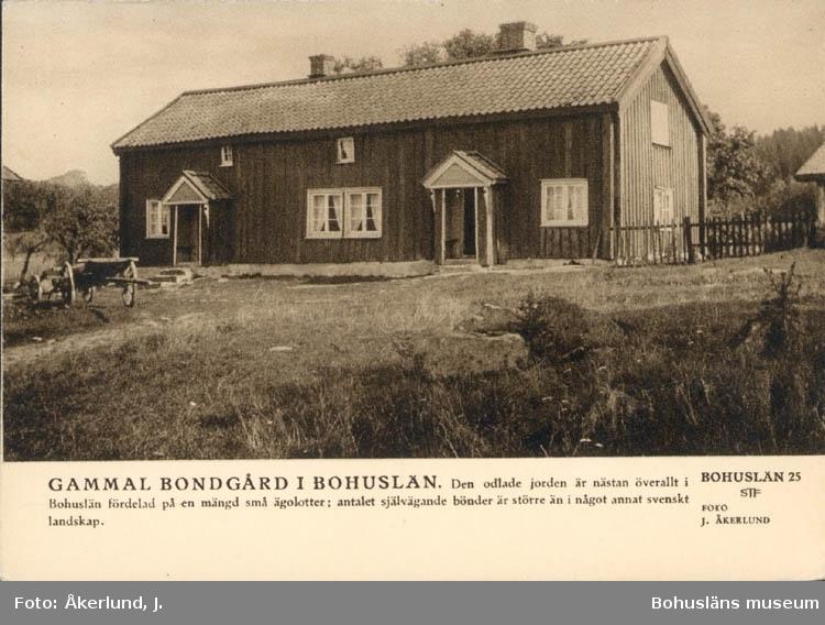 """Tryckt text på kortet: """"Gammal bondgård i Bohuslän. Den odlade jorden är nästan  överallt i Bohuslän fördelad på en mängd små ägolotter; antalet självägande bönder är större än i något annat svenskt landskap."""""""