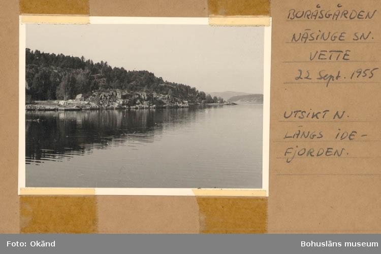 """Noterat på kortet: """"Boråsgården. Näsinge Sn. Vette 22 Sept. 1955."""" """"Utsikt n. längs Idefjorden."""""""