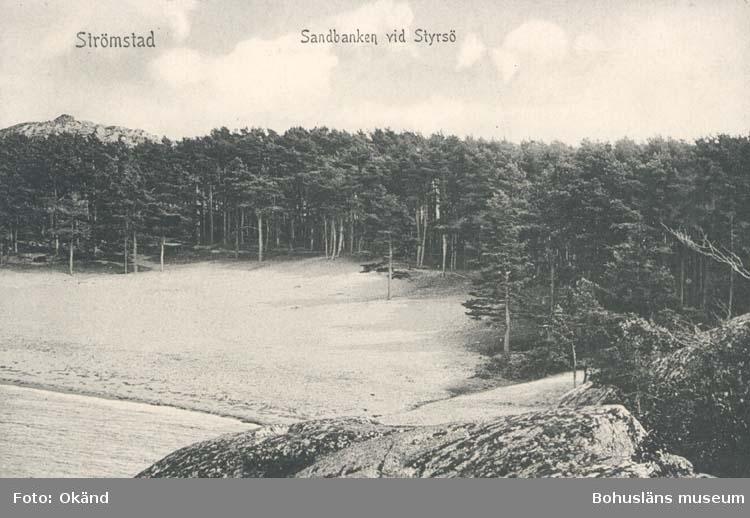 """Tryckt text på kortet: """"Strömstad. Sandbank vid Styrsö."""" """"Förlag: L. A. Larssons Bokhandel, Strömstad."""""""