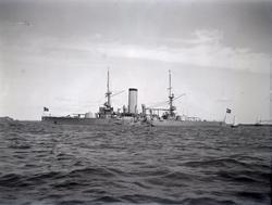 """Enligt text som medföljde bilden: """"(Norges) Pansarbåt."""" ::"""