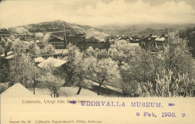 """Tryckt text på vykortets framsida: """"Uddevalla, Utsigt från Strömhagen."""" """"Uddevalla pappershandel, Hildur Anderson."""""""