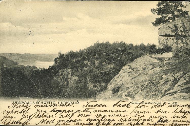 """Tryckt text på vykortets framsida: """"Uddevalla, Schweitz""""."""