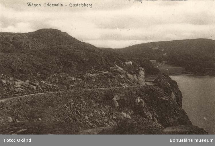 """Tryckt text på vykortets Framsida: """"Wägen Uddevalla - Gustafsberg."""""""