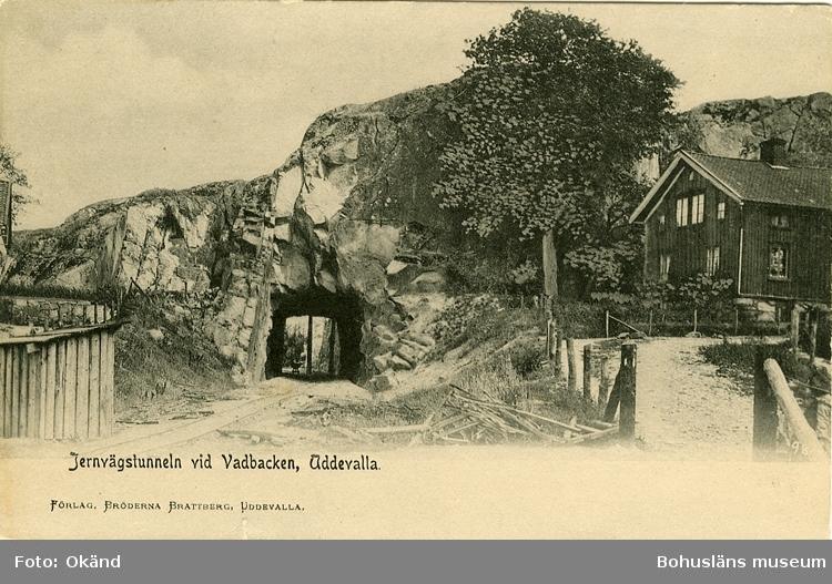 """Tryckt text på vykortets framsida: """"Jernvägstunneln vid Vadbacken, Uddevalla."""""""